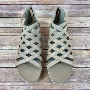 Eileen Fisher Airy Sport Caged Leather Sandals 8.5